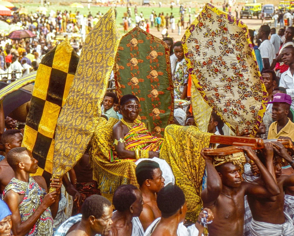 The Asantehemaa (Queen Mother) Nana Afua Kobi and her Fan Bearers, Ghana