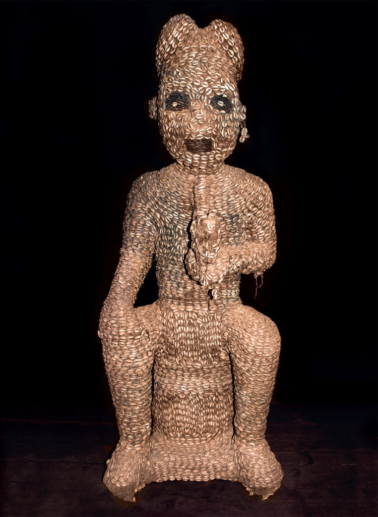 Bamileke Cowrie-Covered Statue of King, Cameroon