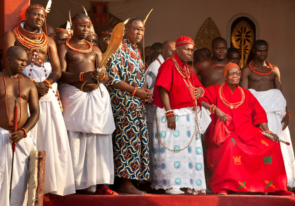 The Oba of Benin Seated with his Court, Nigeria