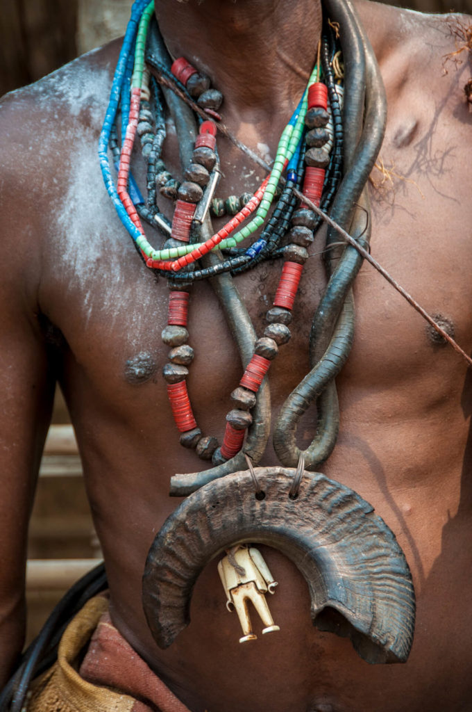 Kuba Talismanic Necklace of Ram's Horn and Lego Figure, DR Congo