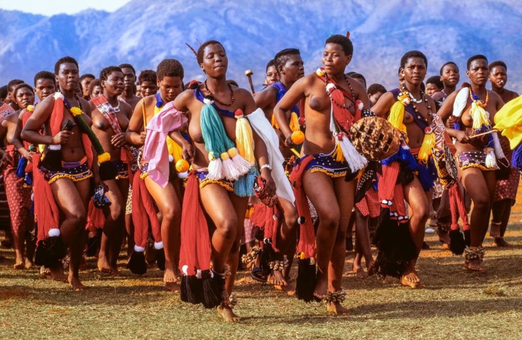 Reed Dancers at Umhlanga Ceremony