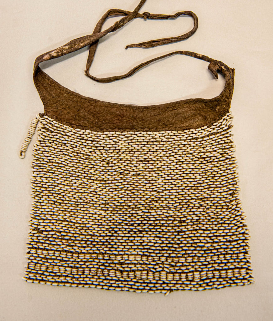 Leather Bag with Ostrich Shell Beads, San Bushman, Botswana