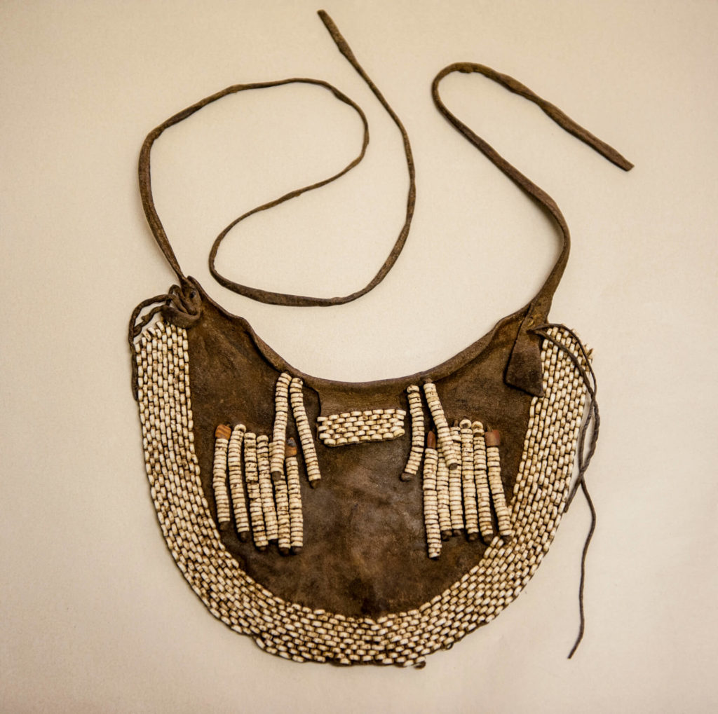 Leather Bag with Ostrich Shell Tassles, San Bushman, Botswana