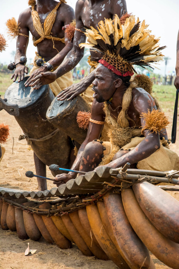 Pende Xylophone Player and Drummers, DR Congo