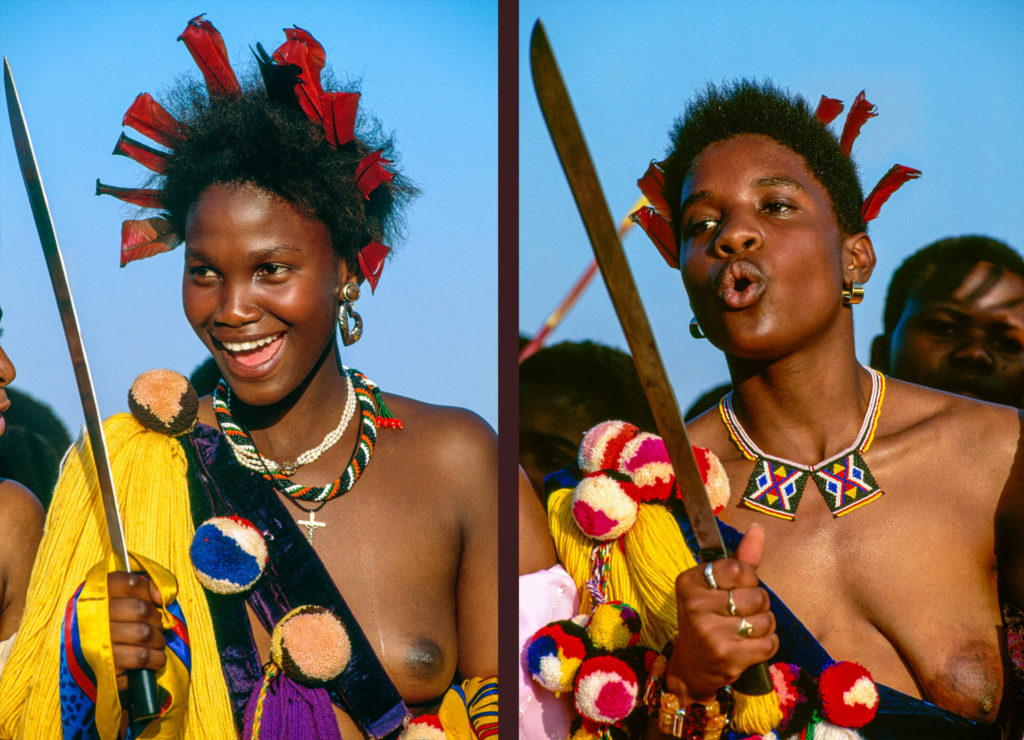 Swazi Princesses with Red Lourie Feathers and Knife